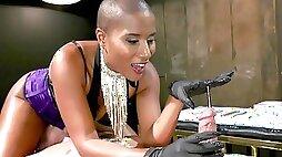 Dominant Ebony treats her male slave with harsh XXX