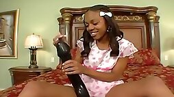 Nasty ebony teen plays with monster sex toy