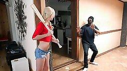 Horny blonde babe fucked a handsome burglar
