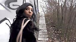 Ebony stunner Romy Indy fucks a stranger for money