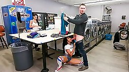 Ebony with awesome ass Jenna Foxx is having sex in the local laundry