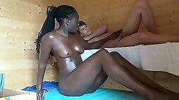 Wife helpg her lucky husband to fuck black bitch in sauna