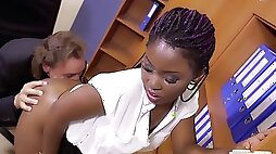 Dirty old boss plows his young ebony secretary
