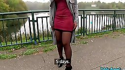 Public casting agent hooks up with young cute ebony for quickie