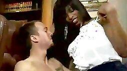 White chap gets spanked from ebony big balloons tranny