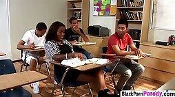 Black slut riding teacher long schlong on desk