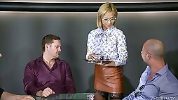 Sexy waitress Veronica Leal is fucked by several sex-starved clients