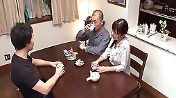 Rough clothed sex with a hot Japanese girl that loves dick
