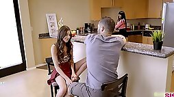 Horny step bro is ready to polish juicy wet pussy of charming Annie Foxxx