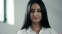 Sexy long haired secretary Eliza Ibarra rides firm cock on top