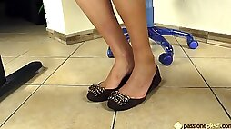 European woman with a foot fetish showing off her new shoes