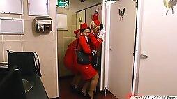 Charming stewardess Luna Corazon sucks dick and fucks in bathroom