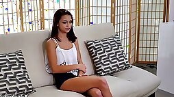 Lovely natural 18 yo Latina gal Paisley Rae strips and rides strong cock