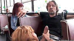 Euro whore fucks huge penis in public bus