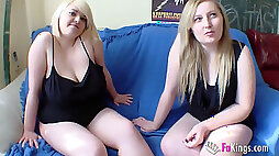 Round blondie Marta finally convinces her cousin Andrea to have a threeway