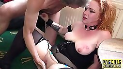Bound ginger submissive gets throated