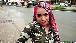 Babe with pink colorful braids Evolet gets facial after a crazy pussy pounding