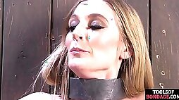 Bound sub clamped and whipped by her master