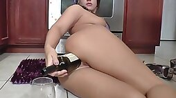 Sexy milf has vegetables anal fun and fucks herself with a bottle