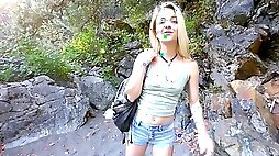 Tricky man seduces cute blonde stepdaughter during hiking