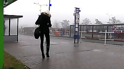 Blonde deepthroating huge dick in car in public