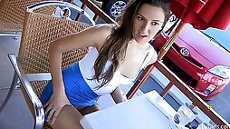Carlie flashes her tis and shaved pussy in a public place