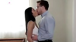 Horny Emily Willis has the hots for her realtor so she seduces him in the bedroom to give him a bald pussy stiffie ride