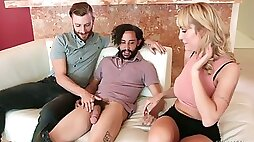 Buxom blonde hottie has great time while fucking with bisexual studs